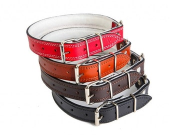 NEW! Simple leather padded dog collar