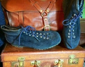 ON SALE Vintage Calzaturificio The Alps By Fabiano Women's Blue Suede Leather Hiking Boots Size 11N -- Made in Italy