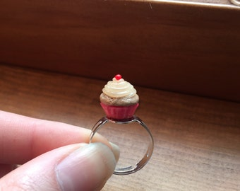 Miniature Handmade Sculpey Clay Cupcake Adjustable Ring: Select Wrapper Color/Scent