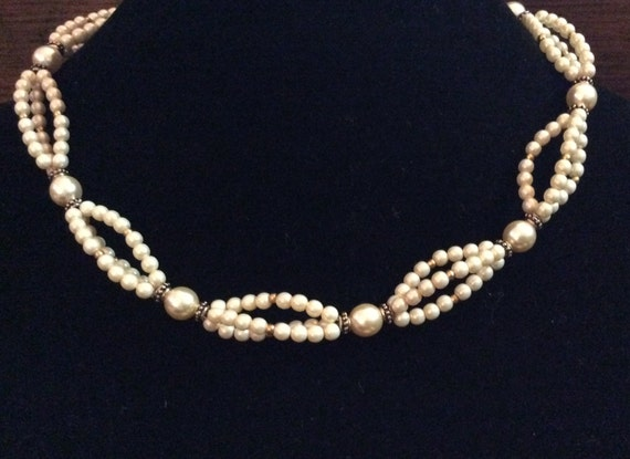 CLEARANCE GLASS PEARL Necklace with Gold Filled and Pewter Accents, Gold Filled Clasp