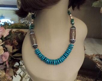 Turquoise flat beaded necklace