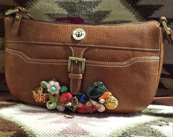 Vintage jeweled leather purse