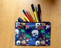 Spooky pattern zip case - pencil case - DS case - wash bag - make up bag