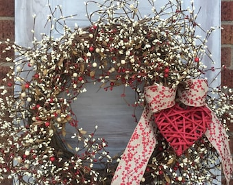 Grapevine Wreath- Valentine Wreath- Pip Berry Wreath-Holiday Wreath-Americana Wreath - FREE SHIPPING