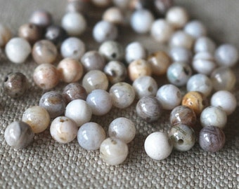6mm Natural Bamboo Agate Round Beads, 15 inch strands