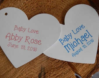 Baby Love baby shower favor tags custom baby tags Thank You tags Heart shaped tags