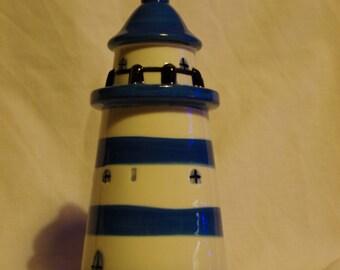 Royal Blue and White Lighthouse Money Box