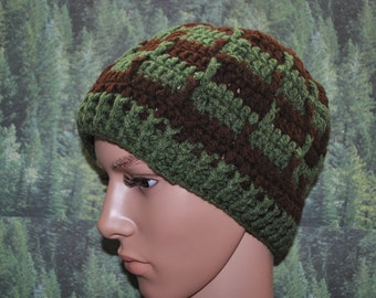 Greek Style Beanie in Green and Brown Colors, Mens Beanie, Mens Apparel, Mens Fashion, Mens Winter Hats.