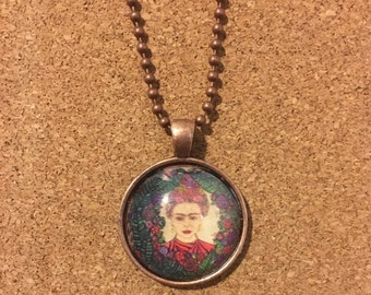 Frida Art Pendant and Chain Necklace- Original Painting and Beveled Glass
