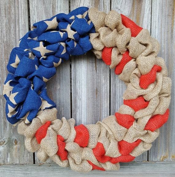 4th of July Wreath, Patriotic Wreath, Patriotic Decor,  Fourth of July Burlap Wreath, Burlap Summer Wreath, Burlap Wreath, USA, Door Wreath