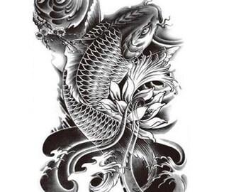Large Temporary Tattoo -  Fish tattoo - Arm tattoo for Men/ Women - Black tattoo - Koi Fish tattoo
