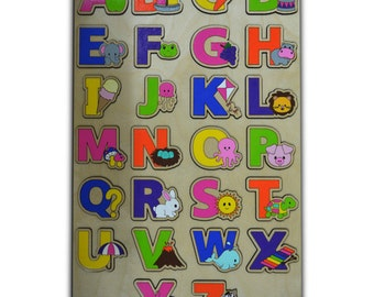 Learn The Alphabet Wood Puzzle for Kids, ABC Puzzle, Alphabet Toy In Bright Colors id473207397