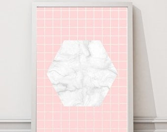 Pink and marble grid print