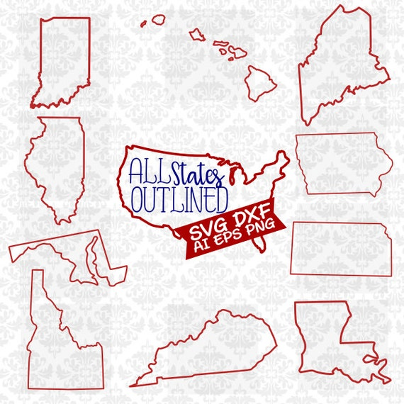 All States Every State Outline Set Outlined Whole Bundle SVG DXF Ai Eps PNG Vector Instant Download Commercial Cut File Cricut Silhouette