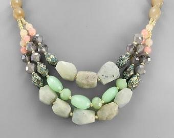 Jade Gemstone Mix 3 Layer Necklace