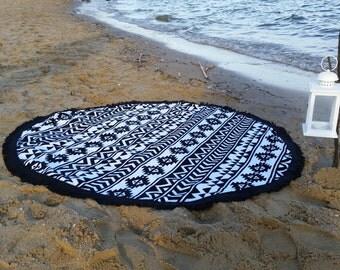 Round Beach Towel, AZTEC Black Tassels 150 cm Diameter, Roundie, Beach Towel, Bikini, Beach Dress, Mandala, Serviette Ronde, Peshtemal