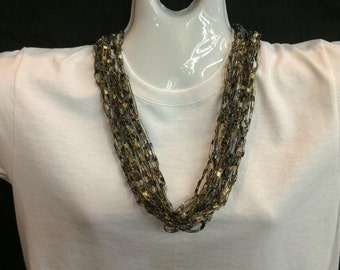 Blue and brown crocheted ribbon necklace #60