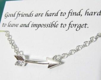 Silver Arrow Necklace/Friendship Necklace/Best Friend Necklace/A5// best friend gift/ gift for friend