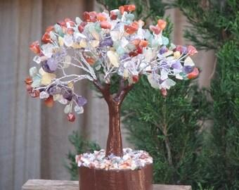Mixed Crystal Gemstone Tree, 180mm Tall, Wooden Base, Amethyst, Clear Quartz, Carnelian