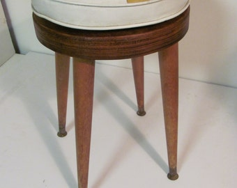Mid Century Modern Stool or Accent Table With Loose Cushion
