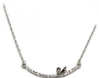Mini swan crystal silver necklace