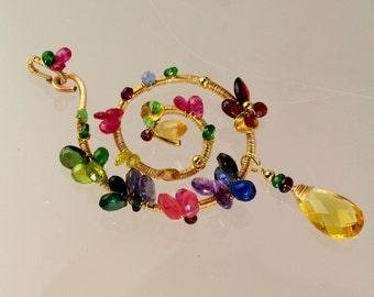14K Goldfill Gemstone Jewelry - Multicolor Pendant.Kyanites,Amethyst,Ruby,Sapphires,Peridots,Citrine,Tanzanites,Garnets,Chrome Diopside