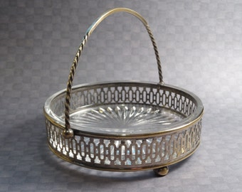 Silverplate and Glass Candy Dish / Condiment Dish