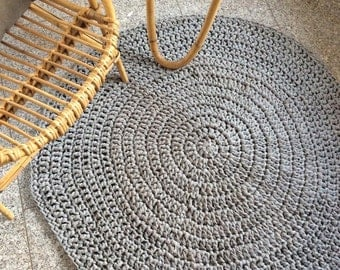 100 cm gray Hooked rug