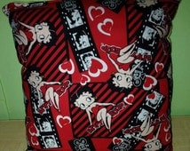 """Betty Boop Pillow Classic Boop Pillow Valentine's Day Cartoon Pillow HANDMADE In USA Pillow is approximately 10"""" X 11"""""""