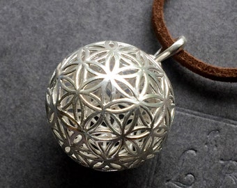 Flower of Life Large Sterling Silver Pendant Sacred Geometry 32mm Metal Focal With Bail