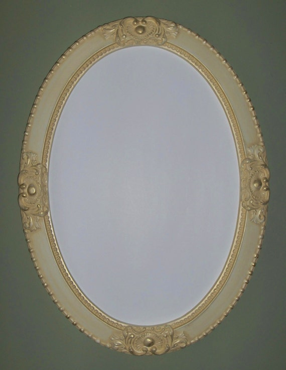 Antique white oval mirror vanity mirror nursery by for Oval mirror canada