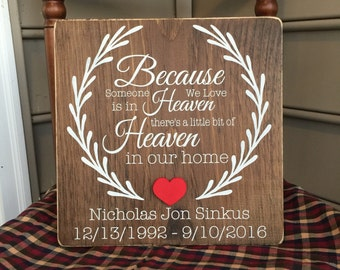 """Because Someone We Love is in Heaven, There's a Little Bit of Heaven in Our Home (11.25"""" x 11.25"""")"""