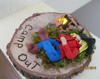 Camp Out Polymer clay figurine