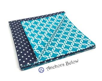 Teal Geometric Lattice and Navy Polka Dot Pocket Square, Teal Pocket Square, Navy Polka Dot Pocket Square, Double Sided Pocket Square