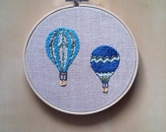Hand Embroidered Linen Hoop Art - Two Hot Air Balloons - Nursery Wall Art - Kids Room Decor