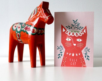 SALE* Dala Cat Christmas Card