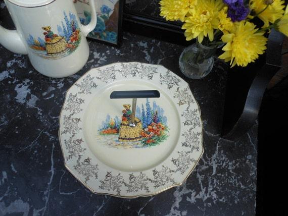 SALE 25% Off.....CRINOLINE LADY Cake Plate - Vintage Chintz - Gold - English china - Cake stand - 1930's