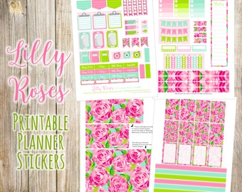 Lilly Roses {First Impression} Printable Planner Stickers - 4 Full Pages!  Made to fit The Happy Planner by MAMBI - Create 365