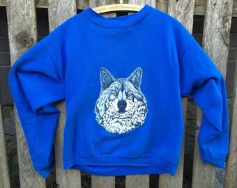 Vintage Nature Sweatshirt Lone Wolf Size Medium