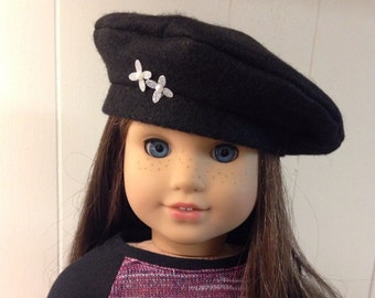Black felt beret hat with silver flowers Paris American Girl doll clothes
