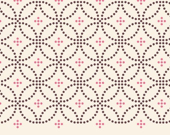 Designed Tablecloth. vintage style tablecloth. brown and pink dots vintage pattern on off white background.