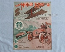 Sheet Music March 'Motor King', Automobile, Motorcycle, Speedboat, Airplane on Pfeiffer Cover, 1910