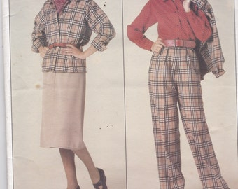 Vogue 0995  Womens Jacket, Skirt, Pants and Blouse Size 8,10,12