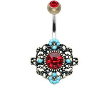 Vintage Boho Filigree Flower Belly Button Ring -PREORDER Only!