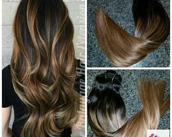 Hair Extensions, Clip in Hair Extensions, Dark Brown Hair Extensions, Hair Extensions, Balayage Extensions, 120 grams