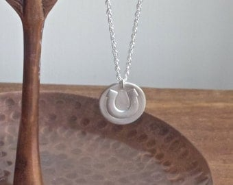 Horseshoe necklace, good luck gift, silver necklace, silver metal clay, simple silver necklace, silver horseshoe necklace