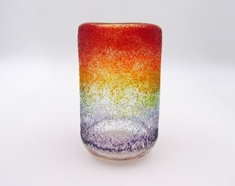 Rainbow Glass Vase, Small Vase, Colorful Flower Vase, Cylindrical Vase, Rainbow Vessel, Handblown Glass Vase, Blown Glass Vase