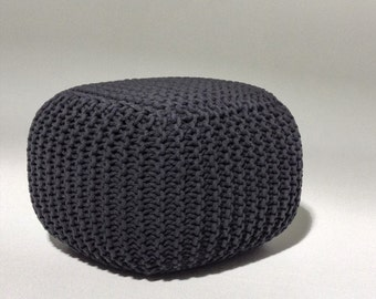 Handmade Knitted Pouf | Charcoal Gray | 50x50x35cm | Hand Knit Pouf Ottoman Footstool