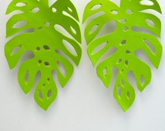 READY TO SHIP:  Hand-cut Leather Monstera Leaf Earrings in Chartreuse Leather