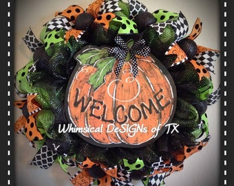 Whimsical Pumpkin Welcome Wreath